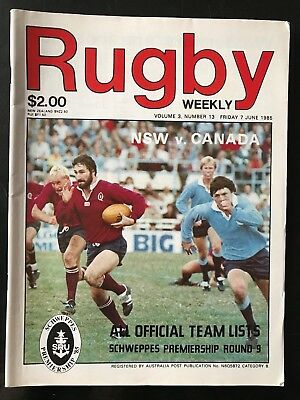 0289 - CANADA 1985 tour v New South Wales (Aus) Rugby Programme 07/06 7th June