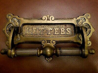 Antique Door Cast Bronze Letters Mail Slot Knocker HEAVY ! Nice. FREE SHIPPING