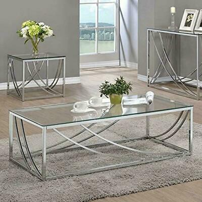 Coaster Company Coffee Table With Swoop Accents Glass Chrome Rectangular Large