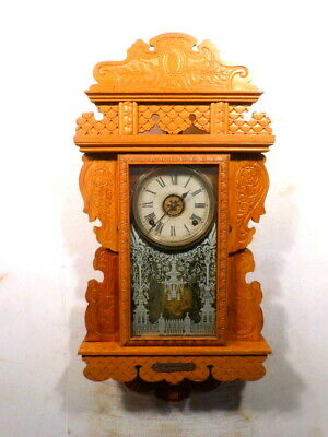 Ingraham Hanging Kitchen Clock Circa 1890 With Alarm and Strike