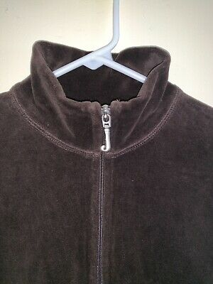 Juicy Couture Dark Brown Full Zip Up Long Sleeve Velour Jacket Women S Made USA