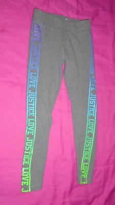 Girls Size 10 Justice Active leggings Say Love Justice on the Sides Gray VGUC