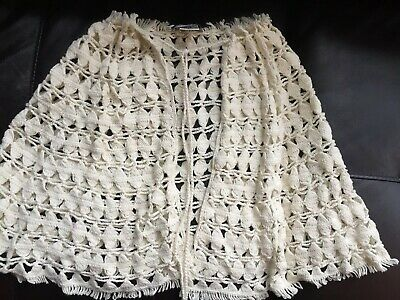 Girls Knit Poncho One Size Fits All  Ramie Cotton Off-White