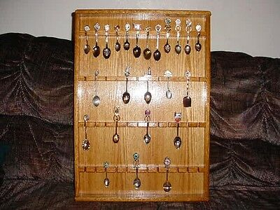 oak collector spoon display case rack hold 48 showcase t1