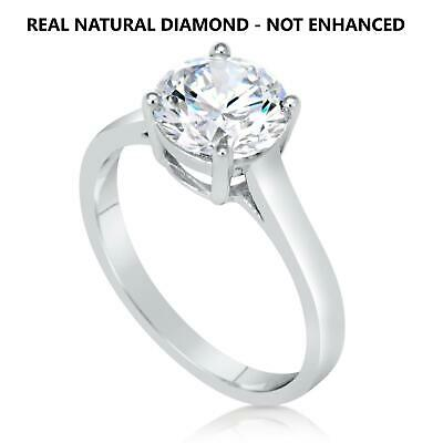 1.5 Ct Real Natural Diamond Engagement Ring Round Cut D Vs2 18K White Gold