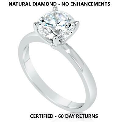 3 Ct Real Natural Diamond Engagement Ring Round Cut D Si1 14K White Gold