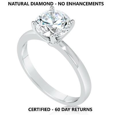 1.25 Ct Real Natural Diamond Engagement Ring Round Cut D Vs2 14K White Gold