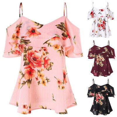 Sexy Women Summer Loose Casual Shoulder Floral Shirt Tops Blouse Ladies Tops Off