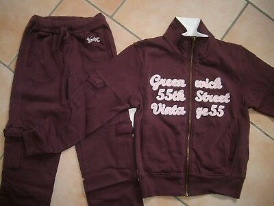 (254) Vintage 55 Girls Jogging Anzug + Greenwich Besatz & Logo Stickerei gr.128