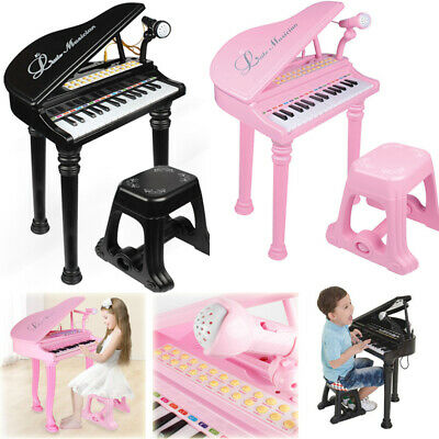 31 Key Kids Electronic Keyboard Grand Piano Stool Microphone Musical Toys Child
