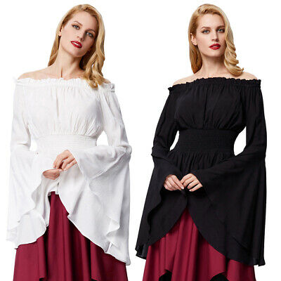 Womens VTG Gothic Victorian Steampunk Off Shoulder Tops Pleated Blouse PLUS SIZE
