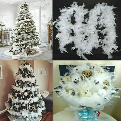 5PCS 2M Christmas Tree White Feather Ribbon Boa Strip Party Garland DIY Decor UK