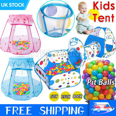 Funny Childrens Kids Baby Play Tent Tunnel Ball Pit Playhouse Pop Up Tent UK