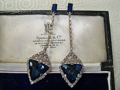 Stunning Art Deco Style Blue Sapphire & Clear Glass Long Dangle Dropper Earrings