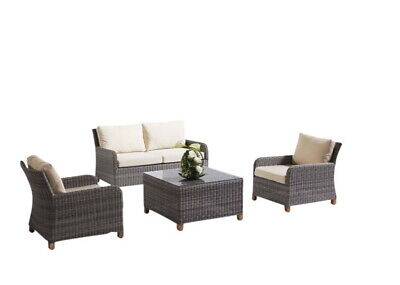NEW Blue Stone 2+1+1 With Coffee Table Outdoor Lounge Suite - Grey/Latte   Patio