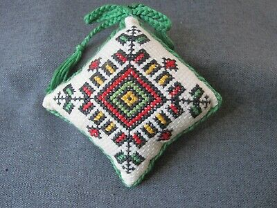 Vintage hand embroidery needlepoint double sided pin cushion #07c