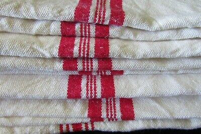 Antique French Job Lot 6 Antique French Linen Red Stripe Torchons/Towels