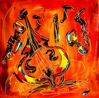 MUSIC Jazz BASS SAX  Mark Kazav  Abstract Modern CANVAS Original Oil Painting