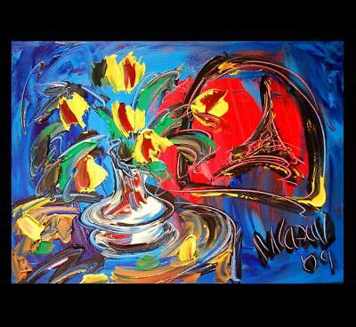 FLORAL ART by Mark Kazav  Abstract Modern CANVAS Original Oil Painting Jiuyu