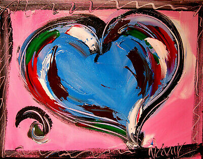 BLUE HEART ART IMPASTO  abstract  Abstract Modern Original   Painting