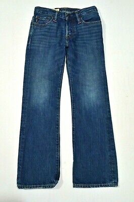 abercrombie 8 Boy's Baxter Low Rise Slim Boot Cut Dark Distressed Denim Jeans