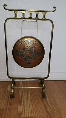Antique Townshend & Co. Engraved Brass Tabletop Dinner Gong