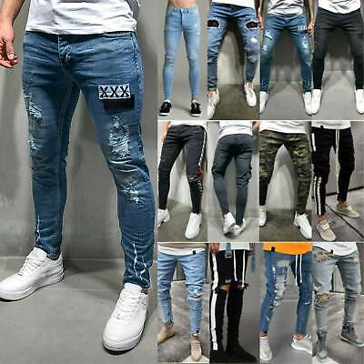 Men Boys Pop Ripped Distressed Jeans Skinny Pants Classic Slim Fit Denim Trouser