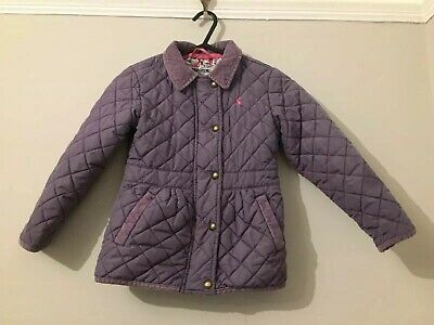 Joules Girls Plum Purple Quilted Padded Coat Jacket Age 6 Years Pink Bird Lining