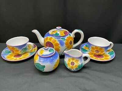 "Herend Village Pottery ""SUNFLOWER"" ~ Teapot, Creamer, Sugar, (2) Cups & Saucers"