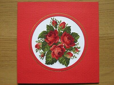 EX LARGE COMPLETED CROSS STITCH CARD ROSES(7,5''x7,5'')