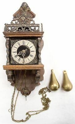 Vintage WARMINK WUBA JWA Dutch Wall Hanging Wood Brass CHIMING CLOCK 50cm - M25