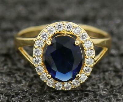 3.53ct Natural Sapphire 14KT Solid Yellow Gold Mens Birthday Gift Bands Ring 8#