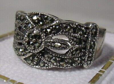 Vintage superb Art Deco style 925 sterling silver Marcasite stone Ring Band sz-9