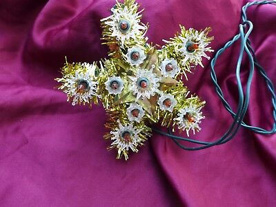 Small Light Tree Topper Tinsel Star Red