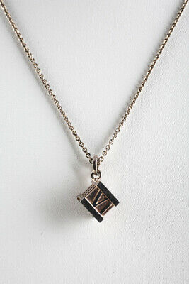Tiffany & Co Sterling Silver Atlas Cube Pendant Necklace LL19LL