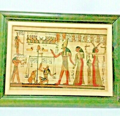 Original Egyptian Papyrus Painting Framed Signed Artist Weighing Of The Heart