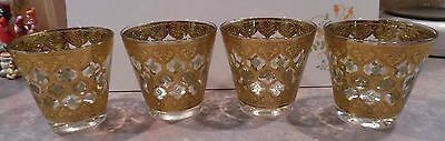 4 Vintage Culver Valencia Old Fashion Flared Glass w/ Green Diamond