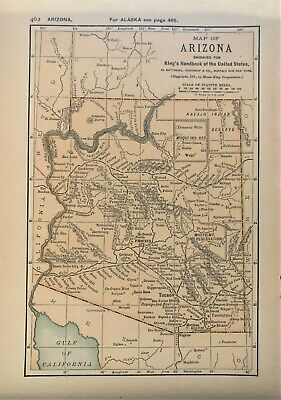 Authentic 1891 Color Map ~ ARIZONA ~ Great Detail ~ RARE