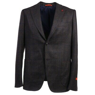 NWT $3250 ISAIA Slim-Fit Chocolate Brown-Navy Blue Check Wool Sport Coat 42 R