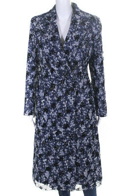 Calvin Klein 205W39NYC Womens Double Breasted Coat Floral Plaid Blue Wool Size 2