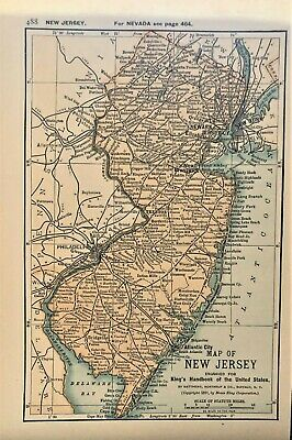 Authentic 1891 Color Map ~ State of  NEW JERSEY ~ Great Detail ~ Original ~ RARE