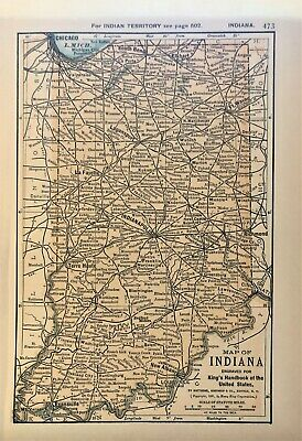 Authentic 1891 Color Map ~ State of  INDIANA ~ Great Detail ~ Original ~ RARE