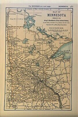 Authentic 1891 Color Map ~ State of  MINNESOTA ~ Great Detail ~ Original ~ RARE