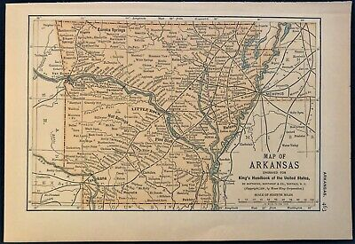 Authentic 1891 Color Map ~ State of  ARKANSAS ~ Great Detail ~ Original ~ RARE