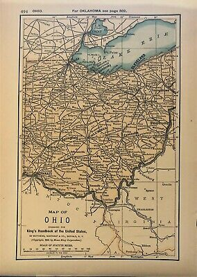 Authentic 1891 Color Map ~ State of  OHIO ~ Great Detail ~ Original ~ RARE
