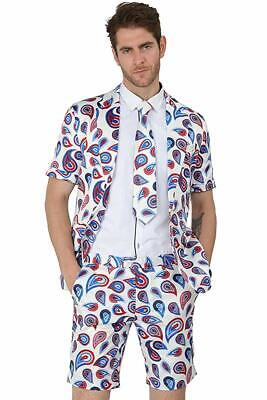 MAGE MALE Mens Summer 2 Piece Suit Casual Beach Print Short Sleeved Blazer Short