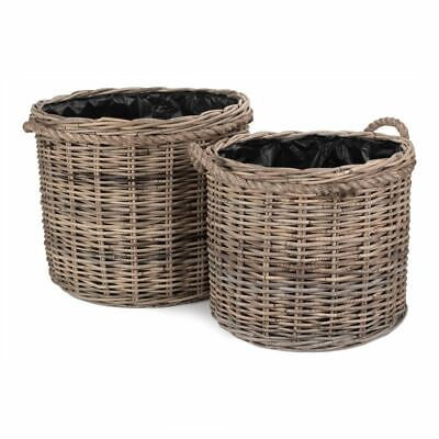 Rope Handled Rattan Round Planter with Plastic Lining