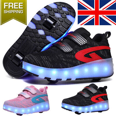 Heelys Fresh Black Pink LED Light and Comfortable Casual Cool Children's Shoes