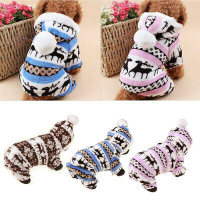 Small Pet Dogs Clothes Christmas Winter Warm Coat Pets Puppy Supplies Outwear UK
