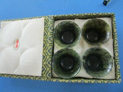 Vintage Set of 4 Mini Spinach JADE Cups Boxed